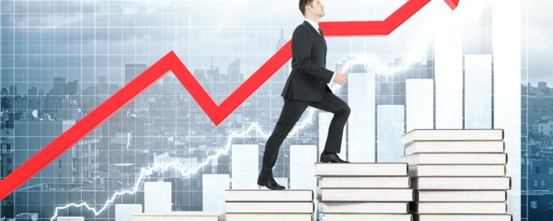 Business growth chart, increases