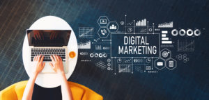 Person creates digital marketing strategy on a laptop