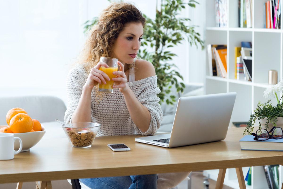 A woman visits a website
