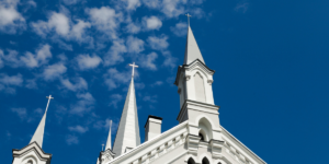Church building with blue sky in the background